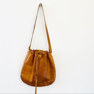 Vintage handmade camel leather slouchy cinch bag